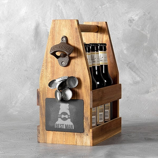 Best Man Acacia Slate Beer Carrier with Magnet and Bottle Opener