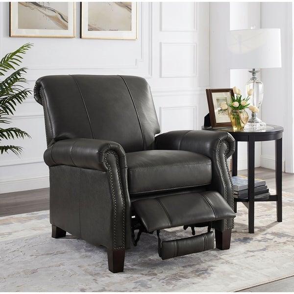 Drew Grey Premium Top Grain Leather Recliner Chair with Nailhead Trim