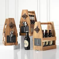 Personalized Acacia Slate Beer Carrier with Magnet and Bottle Opener