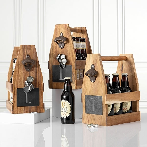 Shop Personalized Acacia Slate Beer Carrier With Magnet And Bottle