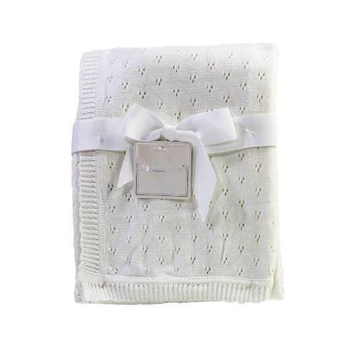Cream Pointelle Baby Blanket