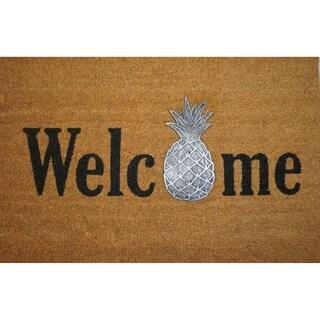 Pineapple Welcome Applique Coir Door Mat