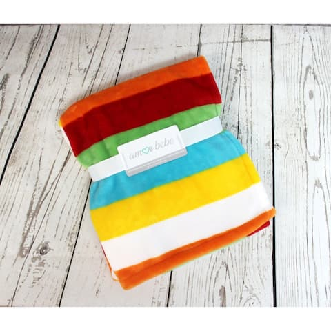Bright Stripes Coral Fleece Baby Blanket