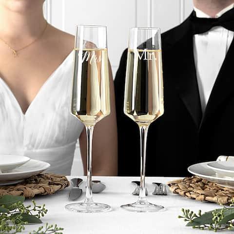 Mr & Mrs 9.5 oz Wedding Champagne Estate Glasses (Set of 2)