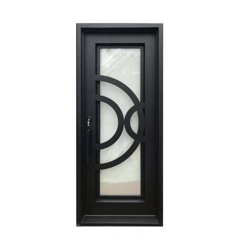 ALEKO Iron Curved-Arc Design Single Door with Frame and Threshold 96 x 40 Inches