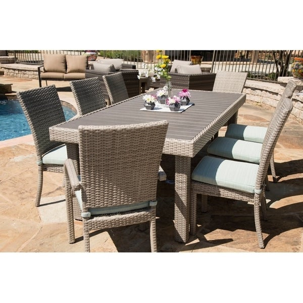 Balcones 9-piece Patio Rectangle Aluminum Wicker Dining Set Cushions