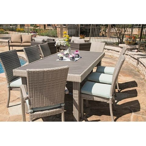 Balcones Woven Outdoor 9-piece Patio Rectangle Aluminum Wicker Dining Set with Cushions