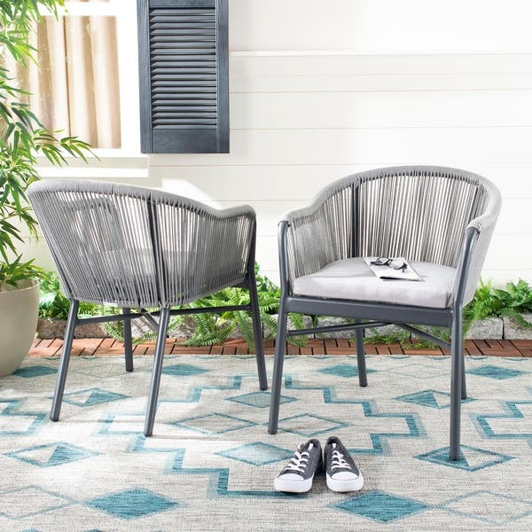 Marvelous Shop Safavieh Outdoor Living Nicolo Rope Chair Grey Set Gmtry Best Dining Table And Chair Ideas Images Gmtryco