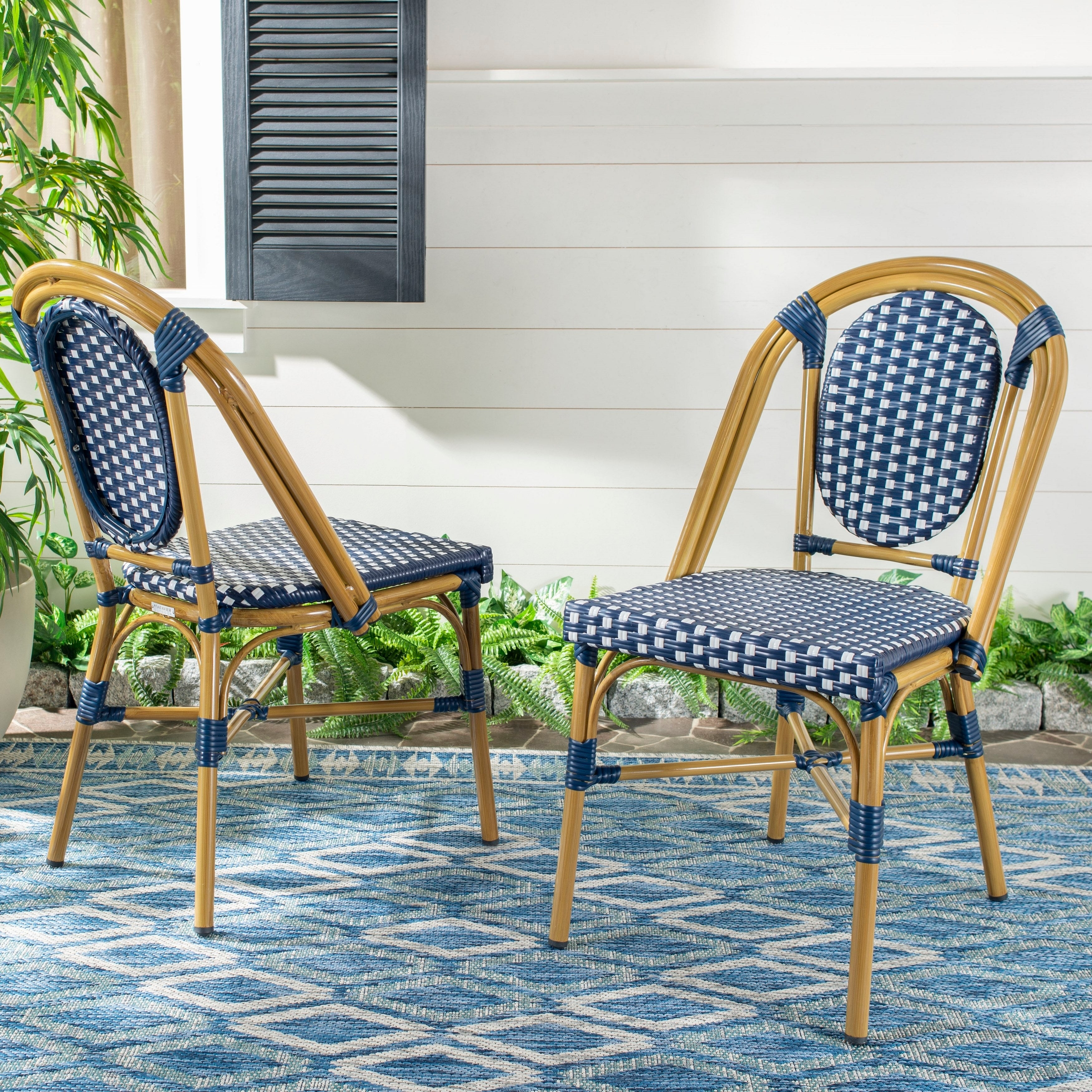 Super Safavieh Outdoor Living Lenda French Bistro Chair Navy White Set Of 2 Gmtry Best Dining Table And Chair Ideas Images Gmtryco