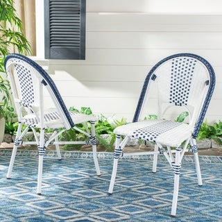 Safavieh Outdoor Living Zoya Chair - Navy / White (Set of 2)