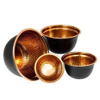 Stainless Steel Mixing Bowl Set of 4 - High Quality Serving Bowl - Hammered Black & Copper