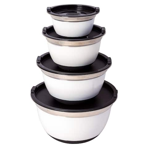 4 Pcs White Stainless Steel German Mixing Bowls Set W Non-Skid Silicone Base Lid