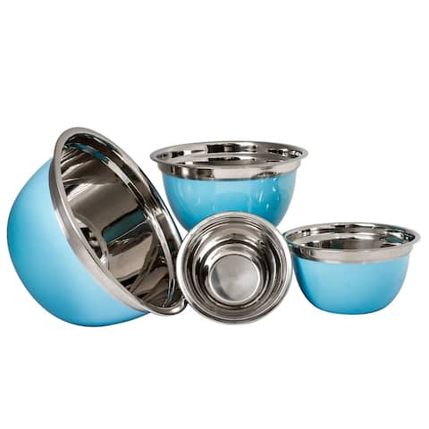 Stainless Steel Mixing Bowl Set of 4 - High Quality Serving Bowl - Blue