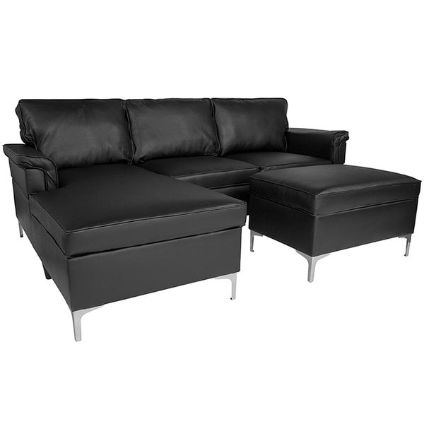 shop roseland 3 piece black leather sectional sofa with left facing chaise and storage ottoman. Black Bedroom Furniture Sets. Home Design Ideas