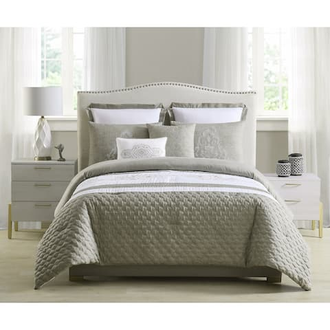 Asher Home Emily Quilted and Embroidered 7-piece Comforter Set