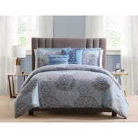 Asher Home Solomon Reversible Blue Medallion 5-piece Comforter Set