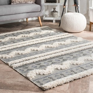 The Gray Barn Lily Way Geometric Tribal Striped Shaggy Area Rug