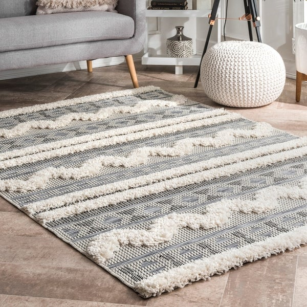 The Gray Barn Lily Way Geometric Tribal Striped Shaggy Area Rug by The Gray Barn
