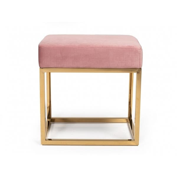 Super Shop Modrest Downey Modern Pink Velvet Gold Stool Ottoman Pdpeps Interior Chair Design Pdpepsorg