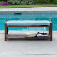 Deals on Tybee Outdoor Bench with Cushion by Havenside Home