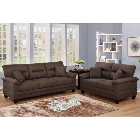 Bobkona Dillion Linen-Like Fabric Polyfiber 2-Piece Sofa and Loveseat Set