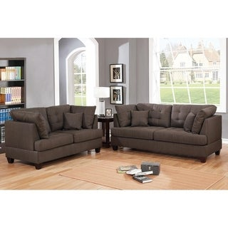 Bobkona Liana Linen-Like Fabric Polyfiber 2-Piece Sofa and Loveseat Set