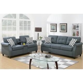 Bobkona Troy Plush Polyfiber 2-Piece Sofa and Loveseat Set