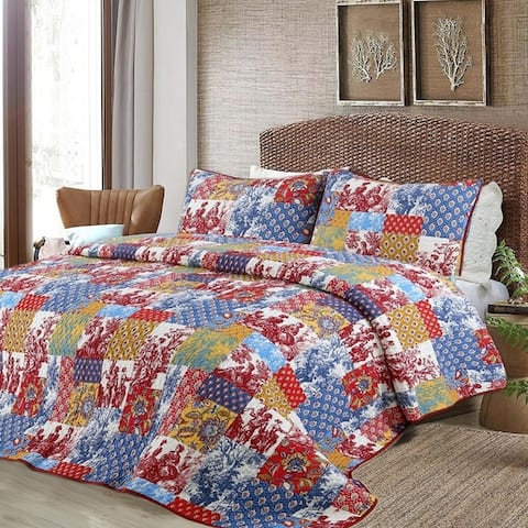 Cozy Line Antique 3-piece Reversible Quilt Set - Blue/Yellow/Red - Blue/Yellow/Red