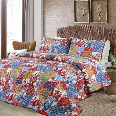 Cozy Line Antique 3-piece Reversible Quilt Set - Blue/Yellow/Red