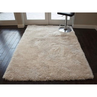 Romance Epic Beige Solid Shag Shaggy Area Rug Carpet - 5' x 8'