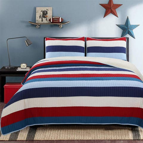 Cozy Line Ressler Stripe Reversible Cotton Quilt Set - Blue/Ivory/Red - Blue/Ivory/Red