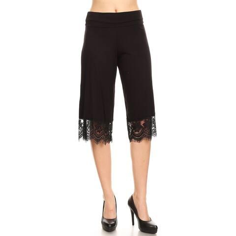 Women's Basic Solid Lightweight Wide Leg Lace Trim Reg/Plus Midi Pants
