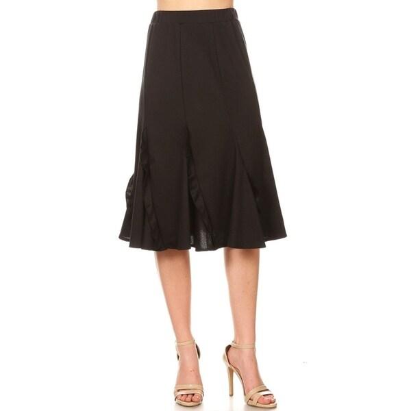 Women's Solid Basic Godet Style Knee-Length Ruffled Detail Skirt