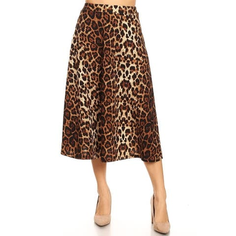 Women's Casual Pattern Print Loose Fit Elastic Waist Pleated Casual Midi Skirt