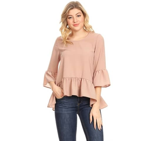 Women's Basic Solid Casual Lightweight Hi-Lo Ruffled Hem Blouse Tunic Top