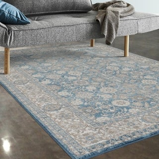 "Allstar Rugs Blue and Ivory Persian Rectangular Accent Area Rug with Beige Highlights - 4' 11"" x 7' 0"""