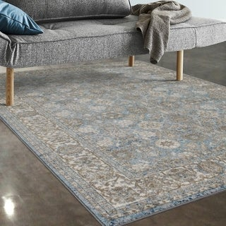 "Allstar Rugs Blue and Ivory Persian Rectangular Accent Area Rug with Beige Highlights - 7' 5"" x 9' 8"""