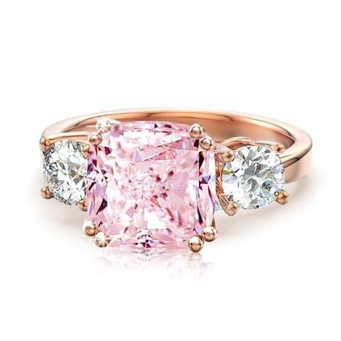 3 Stone Cushion CZ Royal Wedding Engagement Rings in Rose Gold Plating