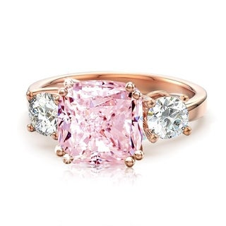 Link to 3 Stone Cushion CZ Royal Wedding Engagement Rings in Rose Gold Plating Similar Items in Rings