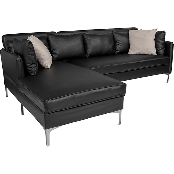 Shop Hempstead Modern Black Leather Sectional Sofa with ...