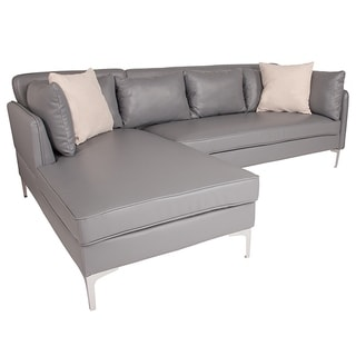 Hempstead Modern Grey Leather Sectional Sofa with Left Facing Chaise