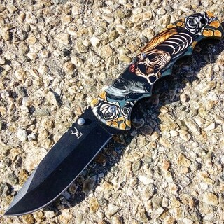 """TheBoneEdge Skull Wolf Spring Assisted Folding Knife 8.5"""" Stainless Steel"""