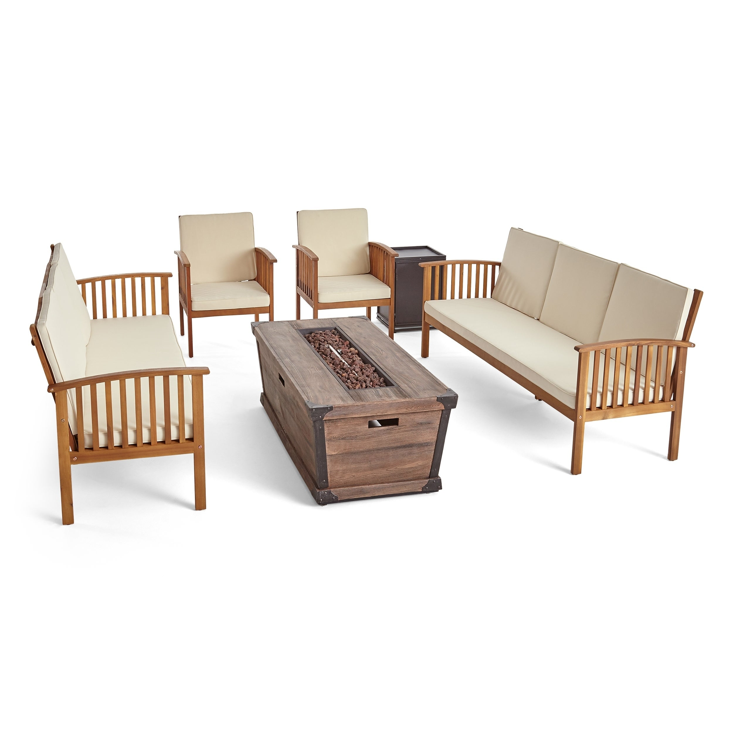 Peachy Carolina Outdoor 4 Piece Acacia Wood Conversational Sofa Set With Fire Pit By Christopher Knight Home Machost Co Dining Chair Design Ideas Machostcouk