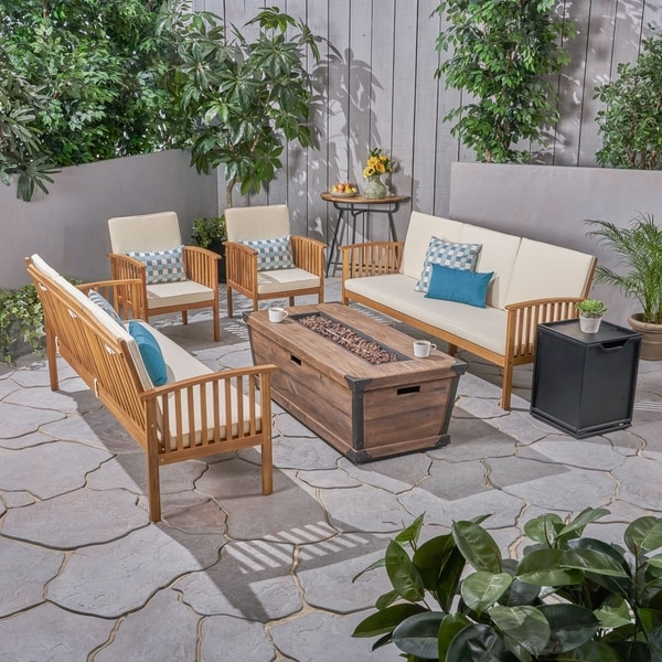 Shop Carolina Outdoor 4 Piece Acacia Wood Conversational Sofa Set
