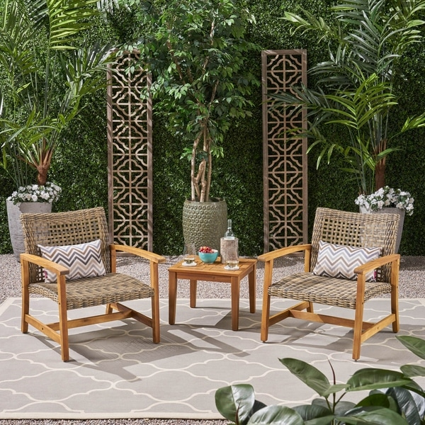 Hampton Outdoor 3 Piece Wood and Wicker Club Chairs and Side Table Set by Christopher Knight Home. Opens flyout.