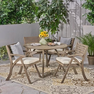 Link to Hermosa Outdoor 5 Piece Acacia Wood Dining Set by Christopher Knight Home Similar Items in Outdoor Dining Sets
