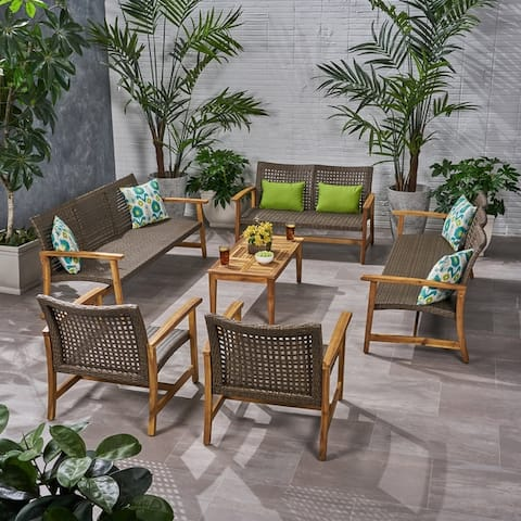 Hampton Outdoor 6 Piece Sofa and Loveseat Chat Set by Christopher Knight Home