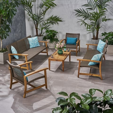 Hampton Outdoor 5-piece Wood and Wicker Sofa Chat Set by Christopher Knight Home
