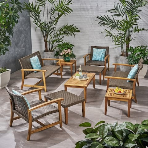 Hampton Outdoor 9 Piece Wood and Wicker Chat Set by Christopher Knight Home