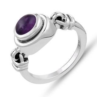 1.00 Carat Genuine Amethyst Ring in .925 Sterling Silver